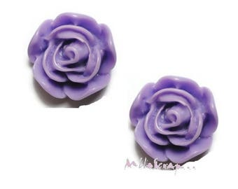 Set of 3 purple resin flowers embellishment scrapbooking card making *.