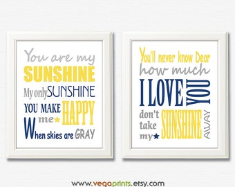 Navy grey and yellow you are my sunshine art print -UNFRAMED - nursery wall art, kids room decor, nursery quote, typography, subway art