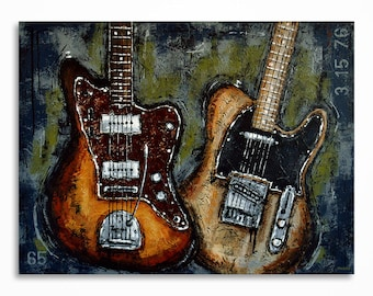 Guitar art, Guitar painting, Music art, Large guitar art, Gift for a musician. Original textured  guitar painting on canvas - MADE TO ORDER