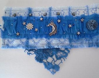 Handmade Textile Cuff Bracelet, Denim, Chiffon Silk, Celestial