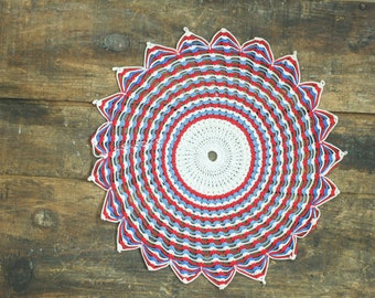 Vintage Red White and Blue Crochet Doily - Americana