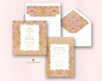 Castlefield Pink Gold Baroque Flourishes Wedding Event Invitations RSVP Card Stationery Customized Printable Luxury