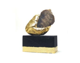 Abstract Agate Art Sculpture - Prudent / Gift, Gold, Home Decor, Desk Decor, Sculpture, Agate Slice Tortoise Agate