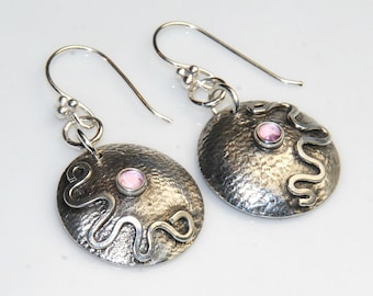 Pink Sapphire Earrings, Unique Handmade Earrings, Pink Gemstone Earrings, Domed Circles with Waves, one of a kind