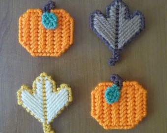 Plastic Canvas: Autumn Leaf and Pumpkin Magnets (set of 4 -- 2 leaves and 2 pumpkins)