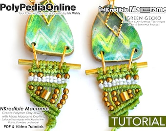DIY Macrame, Macrame Tutorial, Macrame Pattern, DIY Jewelry, Macrame Jewelry, Earring Pattern, Modern Macrame, How to Macrame, Polymer Clay