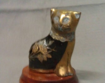 Brass Cat with Black Cat Figurine