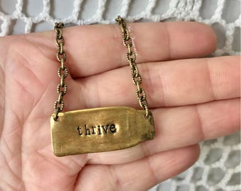Hand Stamped Shell Casing Necklace - Repurposed Bullet - Saying Jewelry - Custom - Personalized - Oxidized Brass Chain - Made in the USA
