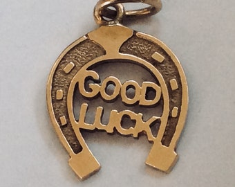 10K yellow gold Good Luck charm vintage antique # G 143