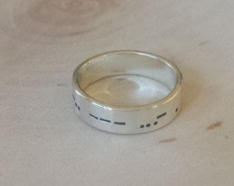 Morse code wedding band in sterling silver