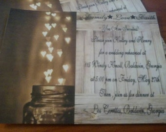 50 Wedding Invitations  Jar Of Hearts Candlelight with matching white envelopes