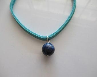 Genuine Lapis Lazuli and Suede Choker by FrenchMermaidInLA