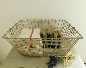 Large antique French oyster basket in cream coloured metal, shabby chic basket , rustic storage