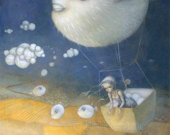 """Blow Fish 8x10 Art Print, Puffer Fish Painting, Hot Air Balloon Art, """"Blowfish Dreams"""""""