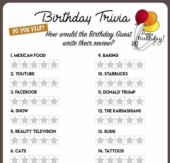 Birthday Trivia Game Birthday Party Trivia Instant