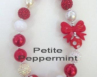 Little Girls Chunky Necklace, Girls Bubblegum Chunky Necklace,White and Red Baby necklace,Girls Bubble Gum Bead Necklace,Children Necklace.