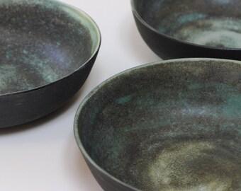 Ceramic Bowl, Turmaline Green Black Stoneware Bowl, Wedding Gift Set, Stoneware Bowls Set Handmade Ceramic Blue Green Black
