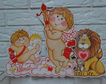Vintage Valentine Wall Decor, Window Decoration, Sweetheart, Cupid, Lion, Angels, Cupids Arrow, Valentines Day