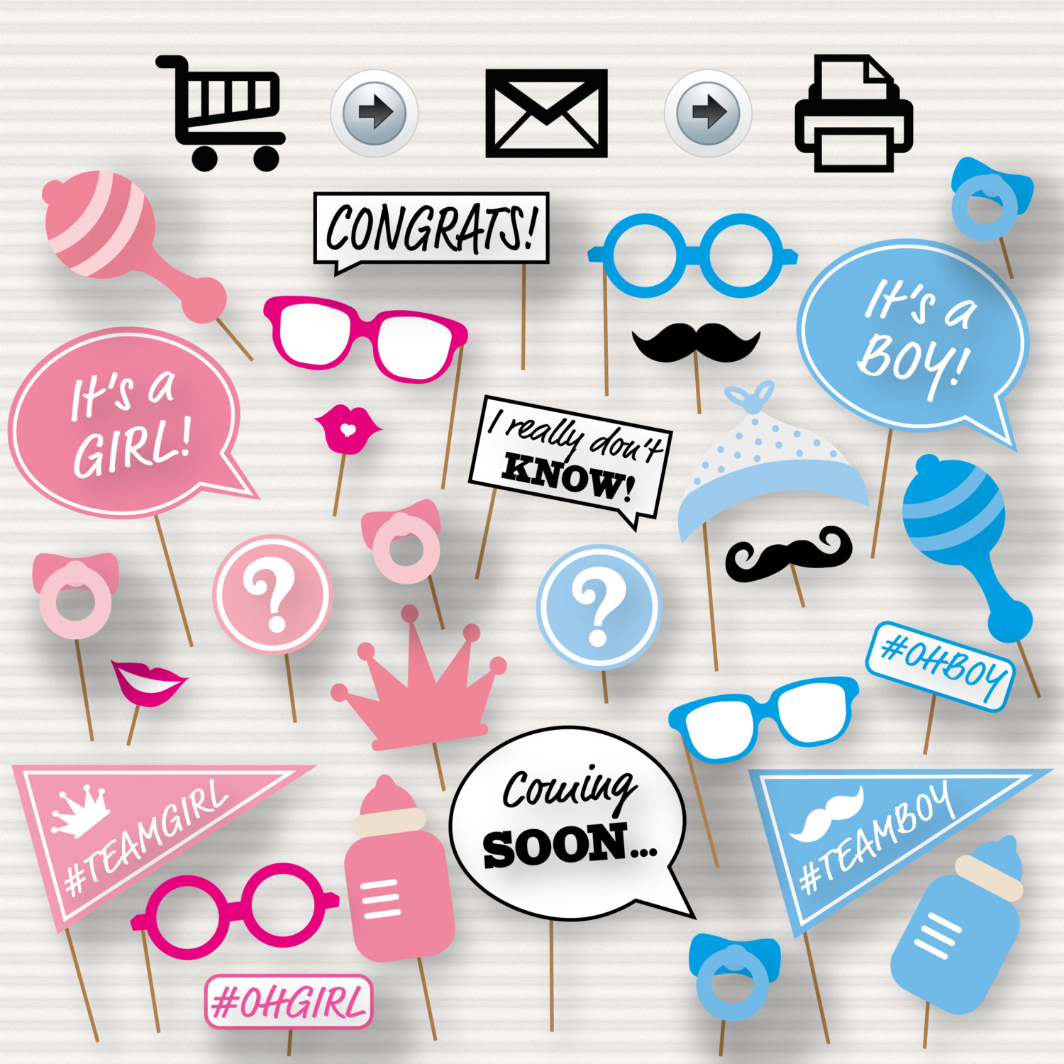 Gender Reveal Baby Shower Booth Props Baby Shower