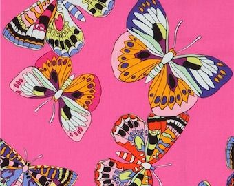 219521 Alexander Henry pink fabric with colorful butterfly insect from the USA