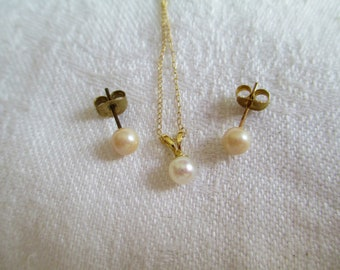 "Vintage 14k Yellow Gold Real Pearl 18"" Necklace & Earrings  Beautiful Luster Pearls Elegant Gorgeous! Wedding"