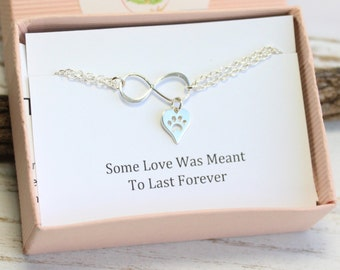 Sterling Silver Infinity Heart with Paw Print Bracelet with Sentiment Card... Pet Love or Remembrance
