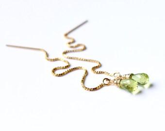 Peridot Earrings Gold, Silver Peridot Threader Earrings, Green Gemstone Chain Earrings, August Birthstone, Peridot Ear Thread Earrings