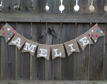 Name Banner / Polka Dot Name Banner / Custom Burlap Banner