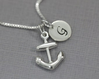 Anchor Necklace, Sterling Silver Anchor Pendant on Sterling Silver Necklace Chain, Gift for Her Girlfriend Gift