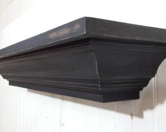 Large Fireplace Mantel, Country Mantel, Floating Wall Shelf, Rustic Mantel Shelf, Mantel, Primitive Mantle, Mantel Shelf, Trimmed Mantel