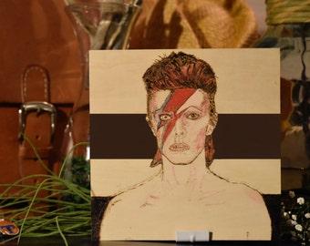 David Bowie - Aladdin Sane Tribute - Wood burning Pyrography Unique Art -