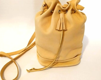 Honey Gold Deerskin Bucket Bag Whip-Stitched Shoulder Bag