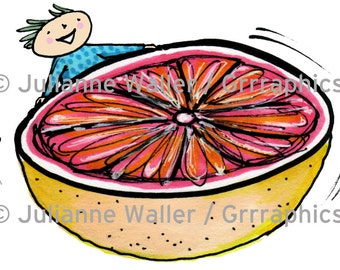 People with food: grapefruit digital printable clipart