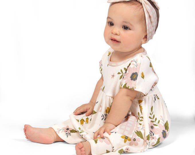 SPRING SALE! Baby Girl Floral Dress, Infant Girl Short Sleeve Dress, Floral Baby Girl Dress, Newborn Baby Girl Flower Dress, Pink Tesa Babe
