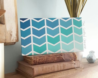 Blue ombre ocean chevorn sign