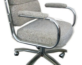 70's Chrome Office Chair With Wheels Mid Century Modern