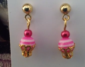 Mini Raspberry Cream Cupcake Earrings