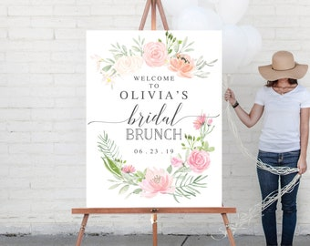 Welcome Sign - Bridal Shower Welcome Sign - Bridal Brunch Welcome Sign - Printed - Bridal Shower Sign - Pastel Blush - Welcome