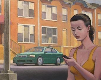 Girl on Brooklyn Street, Girl Texting, Brooklyn Street with Girl