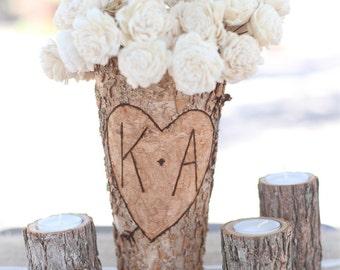 Personalized Birch Vase Rustic Custom Wedding Bridal Shower Christmas Gift Wedding Party Bridesmaids (FAMS1049)
