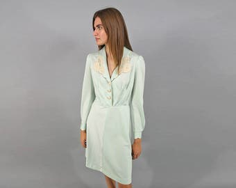 70s Boho Lace Dress / Baby Doll Dress / Mint Green Dress / Mod Dress Δ size: S