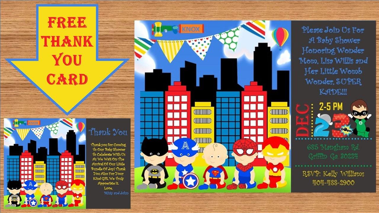 Super Hero Baby Shower Invitation Super Hero Baby Shower