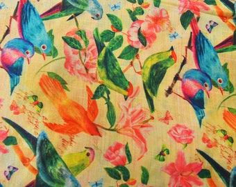 Mother's Day Women's day Sky Blue and Green Bird Digital Print On Beige Silk Fabric-24030