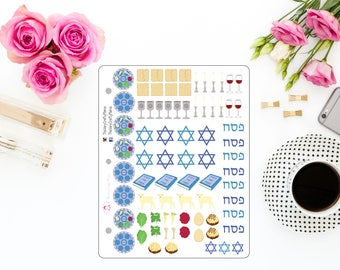 Passover & Pesach Stickers for Erin Condren, Plum Paper, Limelife, Inkwell Press, Emily Ley, Happy Planner, and Planners