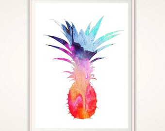 Pineapple Wall Art - Pineapple Print, Tropical Wall Art, PRINTABLE Pineapple, Fruit Print, Watercolor Pineapple, Kitchen Wall Decor, Art