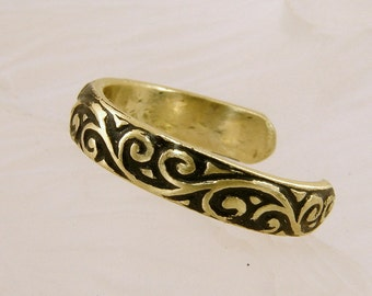 Brass Oxidized Toe Ring, Any Size, brass scroll pattern toe ring, toe ring, brass toe ring, handmade toe ring