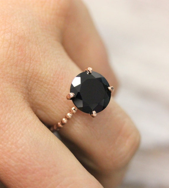 Well-liked Rose Gold Black Spinel Ring Handmade Black Stone Cocktail DB47