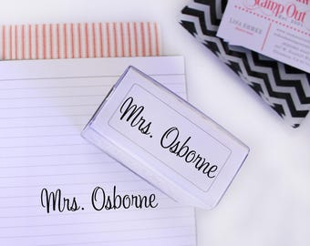 Custom Name Stamp Signature rubber stamp self inking Great teacher stamp, Signature Stamp, Personalized Stamp --7560