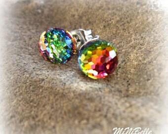 Crystal Earrings. Disco Ball Stud Earrings. Swarovski Rhinestone Stud Earrings. Vitrail Crystal Earrings