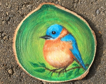 Bluebird Oil Miniature Painting with Easel